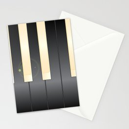 White And Black Piano Keys Stationery Cards