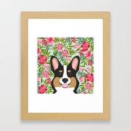 Tricolored Corgi Hawaiian Floral Print Framed Art Print