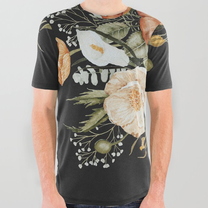 Roses and Poppies Bouquet on Charcoal Black All Over Graphic Tee