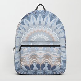 Serenity Mandala in Blue, Ivory and White on Textured Background Backpack