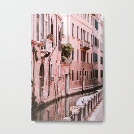 Venice pink canal with old buildings travel photography Metal Print