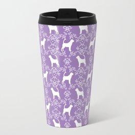 Bloodhound purple and white minimal floral pattern dog breeds pet art Travel Mug