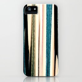 blue turquoise black grey beige pink abstract striped pattern iPhone Case