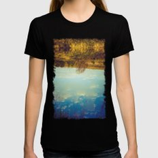 River reflection MEDIUM Womens Fitted Tee Black