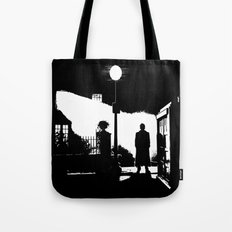 The Exorcist movie poster parody of Doctor Who 10th Tote Bag