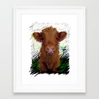 cow Framed Art Prints featuring cow by Moonlight Creations