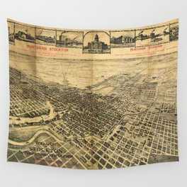 Aerial View of Northern Stockton, California (1895) Wall Tapestry