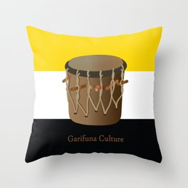 Garifuna Culture - Flag and Drum Throw Pillow