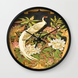 Art Nouveau Silver Pheasant with Rhododendron Wall Clock