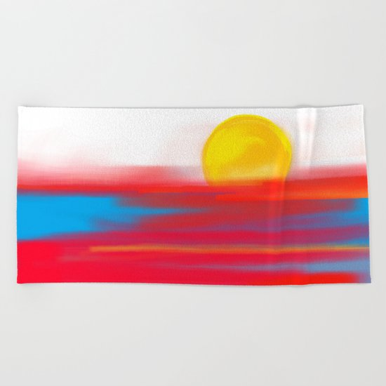 Sketchy Sun and Sea. Sunset and Sunrise Sketch Beach Towel