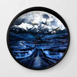 Road to Eternity (blue vintage moon mountain) Wall Clock