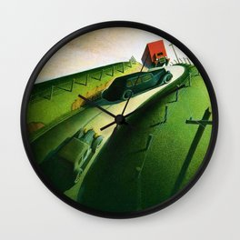 Classical Masterpiece 'Death on Ridge Road' by Grant Wood Wall Clock