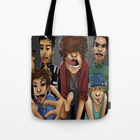 cargline Tote Bags featuring Gorillaz 1D by cargline