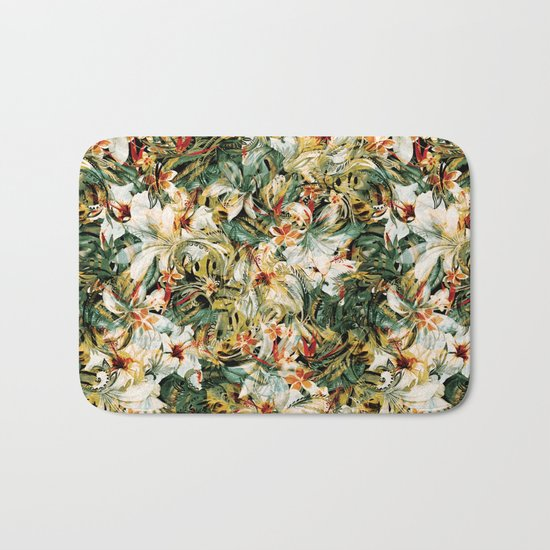 Seamless Floral Pattern Bath Mat
