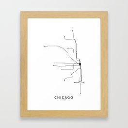 Chicago Subway White Map Framed Art Print