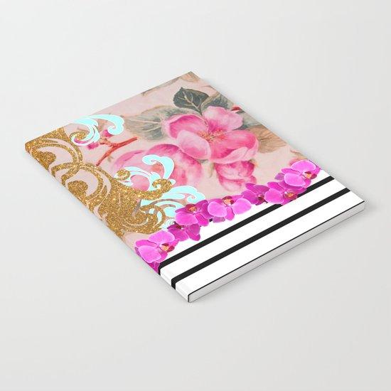 Fashion Girly Pink Vintage Floral Trendy Stripes Pattern Notebook