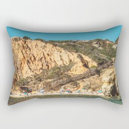 People On Praia do Camilo (Camel Beach) In Portugal, Travel Photo, Large Printable Photography Rectangular Pillow