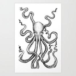 Stippled Octopus  Art Print