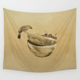 Sparrow And Bowl of Cherries Wall Tapestry