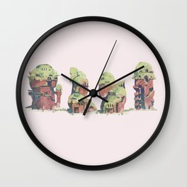 moss roofed houses Wall Clock
