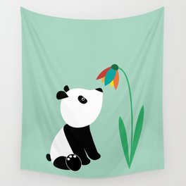 Sweet panda and flower Wall Tapestry