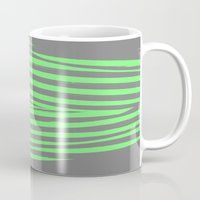 stripes Mugs featuring Green & Gray Stripes by 2sweet4words Designs