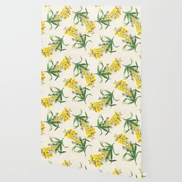 Yellow Cheiranthus Flower Vintage Illustration Wallpaper
