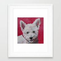westie Framed Art Prints featuring Westie - Ally by Karren Garces Pet Art