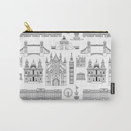London Places Pattern b/w Carry-All Pouch