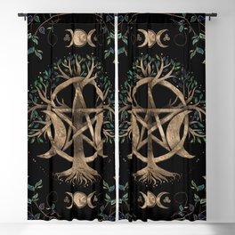 Tree of Life Pentagram Moon Ornament Blackout Curtain