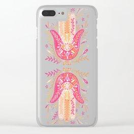 Hamsa Hand – Pink & Peach Palette Clear iPhone Case