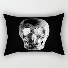 Grinning Skull Anatomical Drawing White Rectangular Pillow