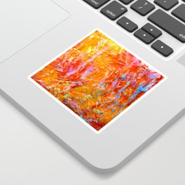 Abstract with Circle in Gold, Red, and Blue Sticker
