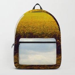 Prairie Landscape Bright Yellow Wheat Field Backpack