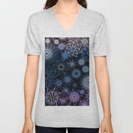 Purple Blue Teal Mandala Doodle Unisex V-Neck