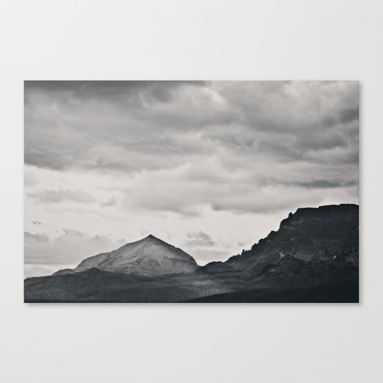 Mountain Peak and Plateau Black and White Canvas Print