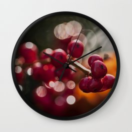 red winterlights - frozen red berries at sparkling backlight Wall Clock