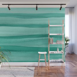 Green Watercolor Lines Pattern Wall Mural