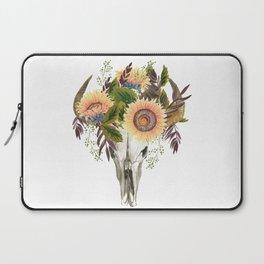 Bohemian bull skull with flowers Laptop Sleeve