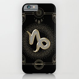 Golden capricornus zodiac sign iPhone Case