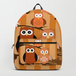Orange Owls Backpack