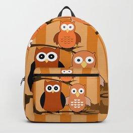 Orange Owls Backpack