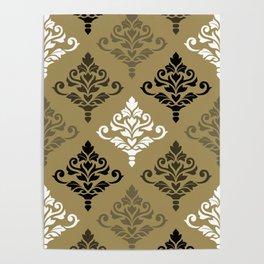 Cresta Damask Ptn Black White Bronzes Gold Poster