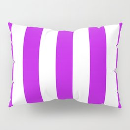 Vivid mulberry violet - solid color - white vertical lines pattern Pillow Sham