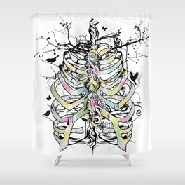 Skeleton of a human thorax Shower Curtain
