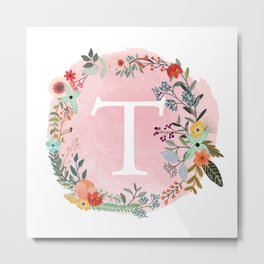 Flower Wreath with Personalized Monogram Initial Letter T on Pink Watercolor Paper Texture Artwork Metal Print