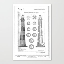 Vintage Bodie Island Lighthouse Diagram Canvas Print