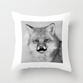 Funny Beard Growth Fox Mustache T-Shirt Throw Pillow
