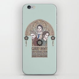 Carry On My Wayward Son (Castiel, Sam and Dean Winchester) iPhone Skin