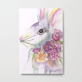 Bunny with Roses Metal Print